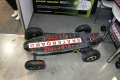 Electric skateboard plan view Stock Photos
