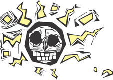 Electric Skull. Stylized woodcut image of a skull with lightning bolts surrounding it. Might make a good tattoo or hip image on a shirt, cup or skateboard Royalty Free Stock Photo