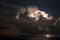 Electric sky. Electric storm over the coast Stock Photo