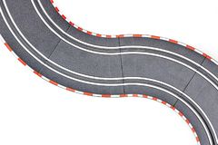 Electric Slot Car Track. A studio photo of an electric slot car set Royalty Free Stock Photos