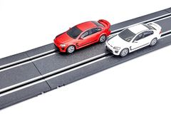 Electric Slot Car Track. A studio photo of an electric slot car set Royalty Free Stock Image