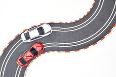 Electric Slot Car Track. A studio photo of an electric slot car set Royalty Free Stock Photography