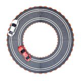 Electric Slot Car Track. A studio photo of an electric slot car set Royalty Free Stock Photo