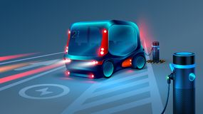 Electric smart bus or minibus charging station. Future concept.  Royalty Free Stock Image