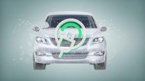 Electric smartcar concept on a background 3d rendering. View of a Electric smartcar concept on a background 3d rendering Royalty Free Stock Photos