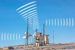Electric smog - antenna radiation. Antennas on roof symbolizing radiation / electric smog Stock Photography