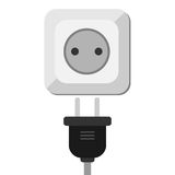 Electric socket with plug Stock Images