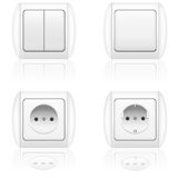 Electric socket and switch vector illustration Stock Images