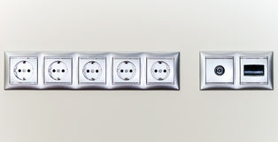 Electric sockets in line Royalty Free Stock Photography