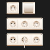 Electric sockets, switch and cords. Vector illustration, eps10. White switches and sockets set. Royalty Free Stock Image