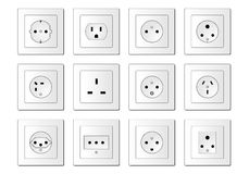 Electric sockets worldwide Royalty Free Stock Image