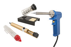 Electric soldering iron and  desoldering pump Stock Photography