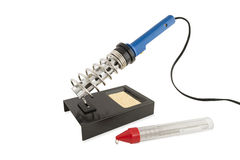 Electric soldering iron  standing Royalty Free Stock Photos