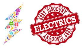 Electric Spark Collage of Mosaic and Grunge Seal for Sales stock illustration