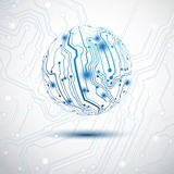 Electric Sphere. Blue sphere made by electric printed circuit board royalty free illustration