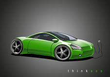 Electric sportscar, green Royalty Free Stock Images