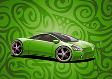 Electric sportscar, green Royalty Free Stock Photography