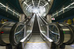 Electric stairs at the CNK station of Warsaw Subway second line Royalty Free Stock Photos