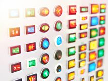 Electric start stop switches. On the panel in the store royalty free stock photos