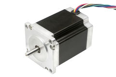Electric stepper motor of CNC linear axis drive of 3D machine Royalty Free Stock Photo