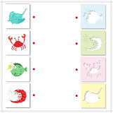 Electric stingray, crab, shrimp and fish angler. Educational gam Stock Photo