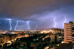 Electric Storm. Composition with five images of electric Storm Stock Photos