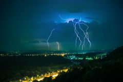 Electric Storm on a Horizon. Lesser Poland, Europe. Stormy Night in Cracow Stock Images