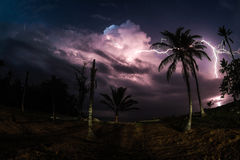 Electric storm in Isla Fuerte. A Thunderbolt hits the ocean near to the coast of Isla Fuerte Royalty Free Stock Image