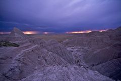 Electric Storm Over Badlands Stock Photos