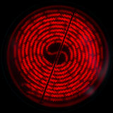 Electric stove red hot coil, top view circle Royalty Free Stock Photo