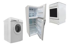 Electric stove, washer and refrigerator royalty free stock photography