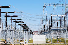 Electric substation. Type on the open switching center of electrical substation Stock Image