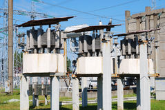Electric substation. Type on the open switching center of electrical substation Royalty Free Stock Image