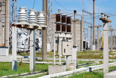 Electric substation. Type on the open switching center of electrical substation Stock Photography