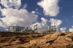Electric Substation. Electrical power substation in a power grid Royalty Free Stock Image