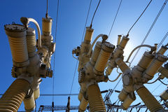 Electric substation in a bright sunny day  Royalty Free Stock Photography