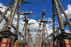 Electric substation in a bright sunny day Royalty Free Stock Photo