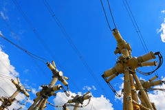 Electric substation in a bright sunny day with the blue sky Stock Photo