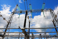 Electric substation in a bright sunny day with the blue sky Royalty Free Stock Photography