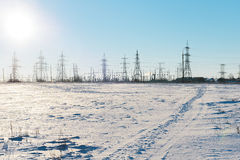 Electric substation in a deserted field Royalty Free Stock Image