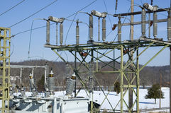 Electric substation detail stock photography