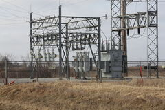 Electric Substation. Electrical Substation in rural Iowa Stock Images