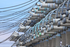 Electric substation. Equipment for production and transfer of electric energy Stock Photo