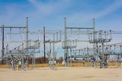 Electric Substation in the Midwest. Electric Substation in Midwest connected to a Wind Farm Stock Images