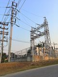 Electric substation. Electric. Pole. Substation. Technology.power Royalty Free Stock Images