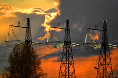 Electric substation. S play greater role in lifes mankind Royalty Free Stock Image