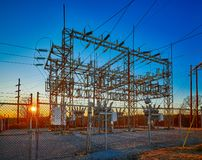 Electric Substation at Sunset. With blue sky royalty free stock photos