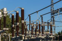 Electric substation tower for generating energy with sky backgro. Und royalty free stock photo