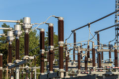 Electric substation tower for generating energy with sky backgro. Und stock image