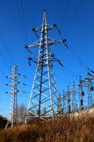 Electric substation and transmission line towers. Royalty Free Stock Photography